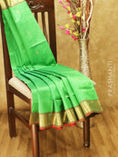 Silk cotton saree parrot green and maroon with paisley zari buttas and rich zari border
