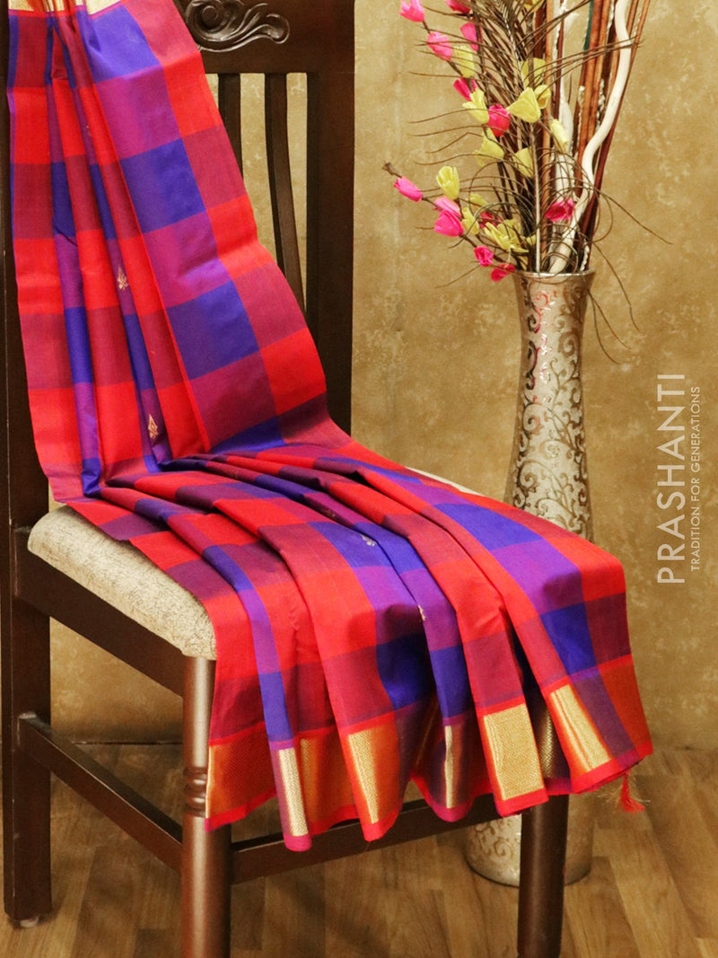 Silk cotton saree blue and red paalum pazhamum checks with zari buttas and rich zari border