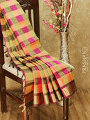 Silk cotton saree mustard yellow and magenta pink paalum pazhamum checks with zari buttas and rich zari border