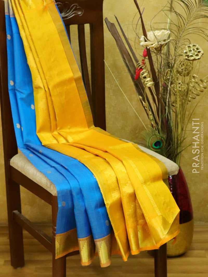 Silk cotton saree cs blue and mustard with vairavosi butta and rich zari border
