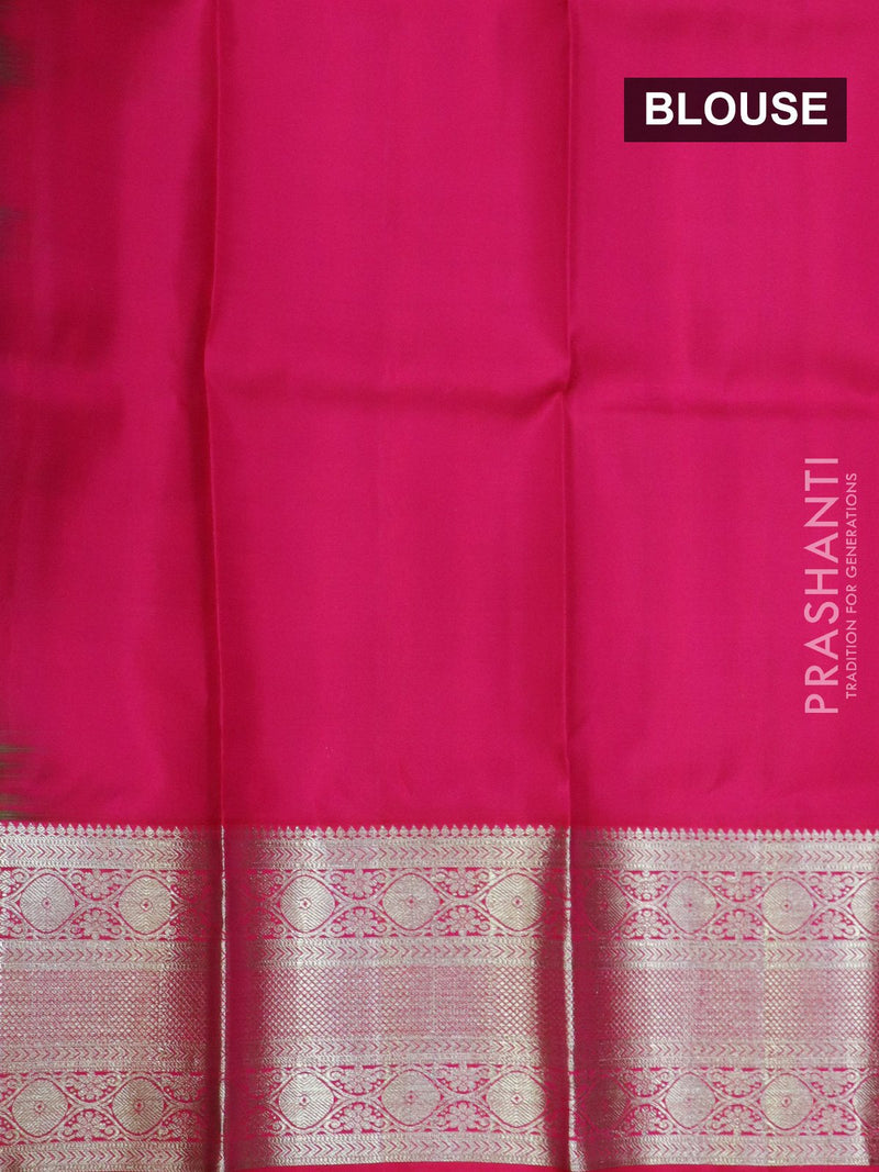Pure silk pavadai material green and maagenta pink with allover zari buttas and rich zari borderfor 3 to 5 years