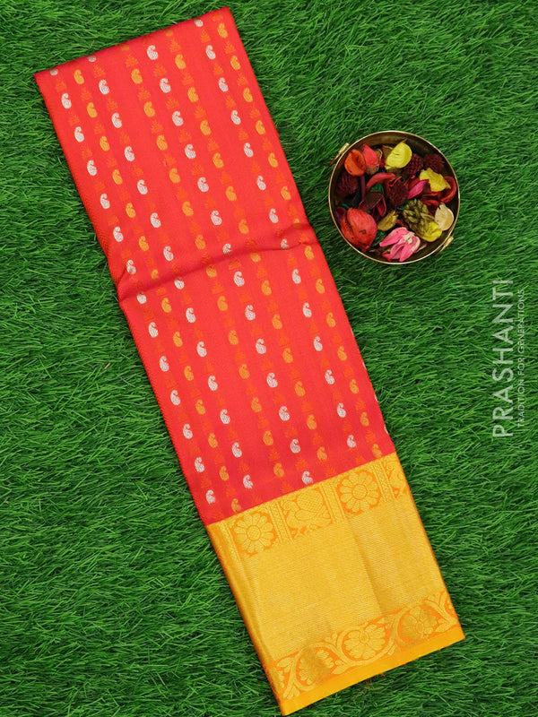 Pure silk pavadai material tomato pink and yellow orange with allover self emboss and zari buttas and rich border for 3 to 5 years