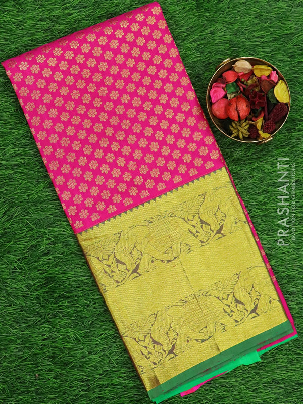 Pure silk pavadai material pink and green with allover floral zari and elephant zari border for 6 to 10 years