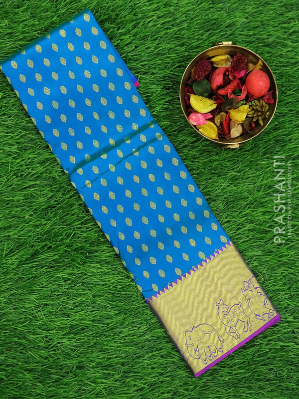 Pure silk pavadai material peacock blue and purple with zari buttas and elephant woven zari border for 0 to 2 years