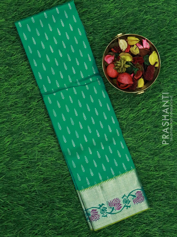Pure silk pavadai material green with allover zari and floral zari border for 0 to 2 years