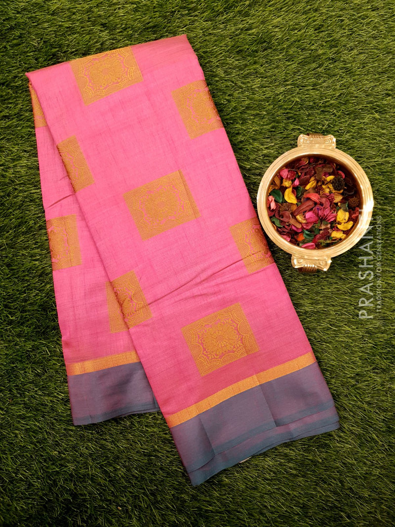 Semi raw silk saree pink and peacock green with simple border and thread buttas