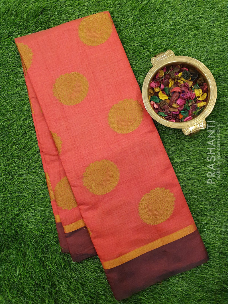 Semi raw silk saree pink and wine with simple border and thread buttas