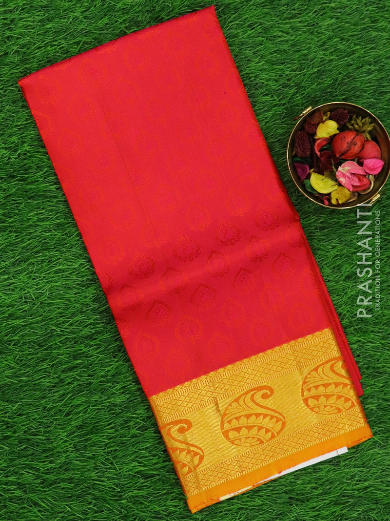 Pure silk pavadai material pink and yellow orange with allover self emboss and rich zari border for 6 to 10 years