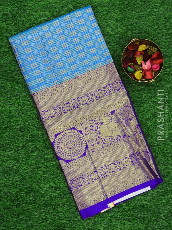 Pure silk pavadai material cs blue and violet with allover zari checkes and rich zari border for 6 to 10 years
