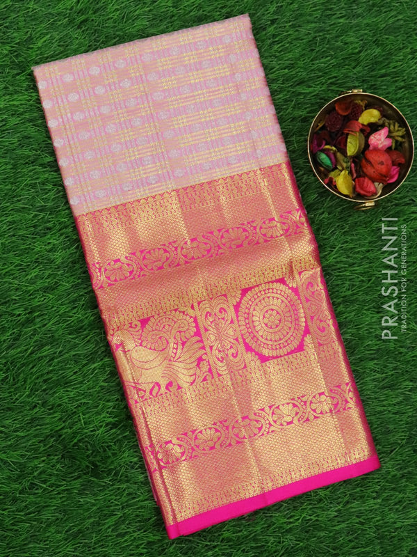 Pure silk pavadai material baby pink and pink with allover zari checkes and rich zari border for 6 to 10 years