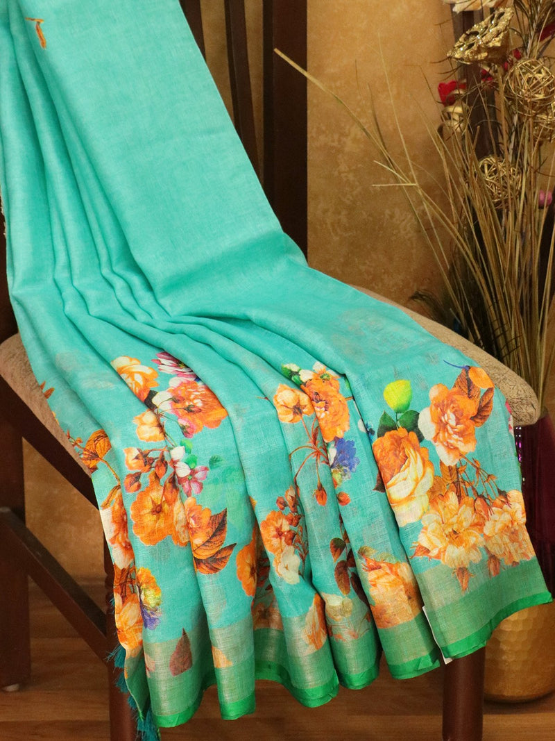 Pure Linen Saree blue and green with floral digital prints