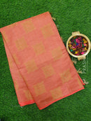 Semi raw silk saree peach with zari woven buttas in borderless style