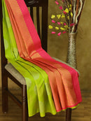 Pure Kanjivaram silk saree fluorescent green and pink with gold and silver grouped buttas in borderless style