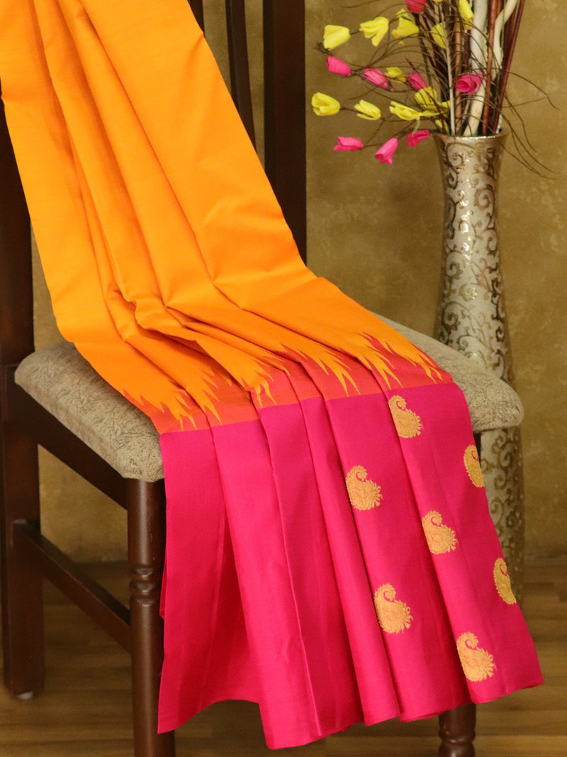 Pure Kanjivaram silk saree golden yellow and pink half and half zari buttas