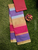 Chettinad cotton saree Dual Shade of Green & Violet with cotton woven blouse