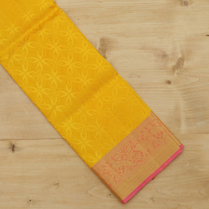 Pure silk pavadai material yellow and pink with floral peacock zari border for 6 to 10 years
