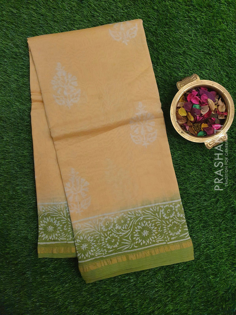 Chanderi Bagru Printed Saree beige and green floral print with golden zari border for Rs.Rs. 1860.00 | Cotton Sarees by Prashanti Sarees