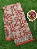 Chanderi Bagru Printed Saree maroon and beige kalamkari style print with golden zari border
