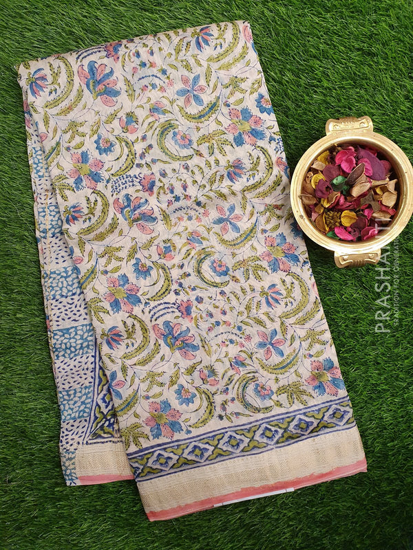 Chanderi Bagru Printed Saree off white and pink floral prints with golden zari border