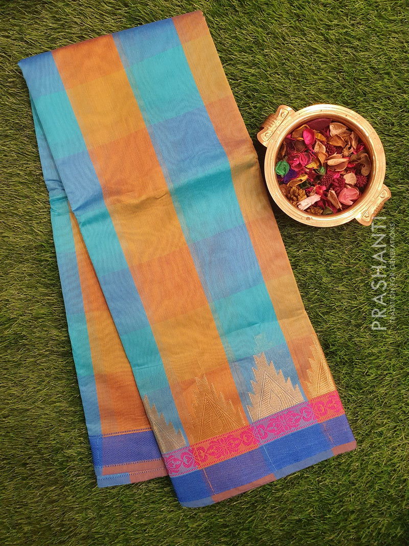 Chanderi Saree blue and green with checked pattern and temple zari border