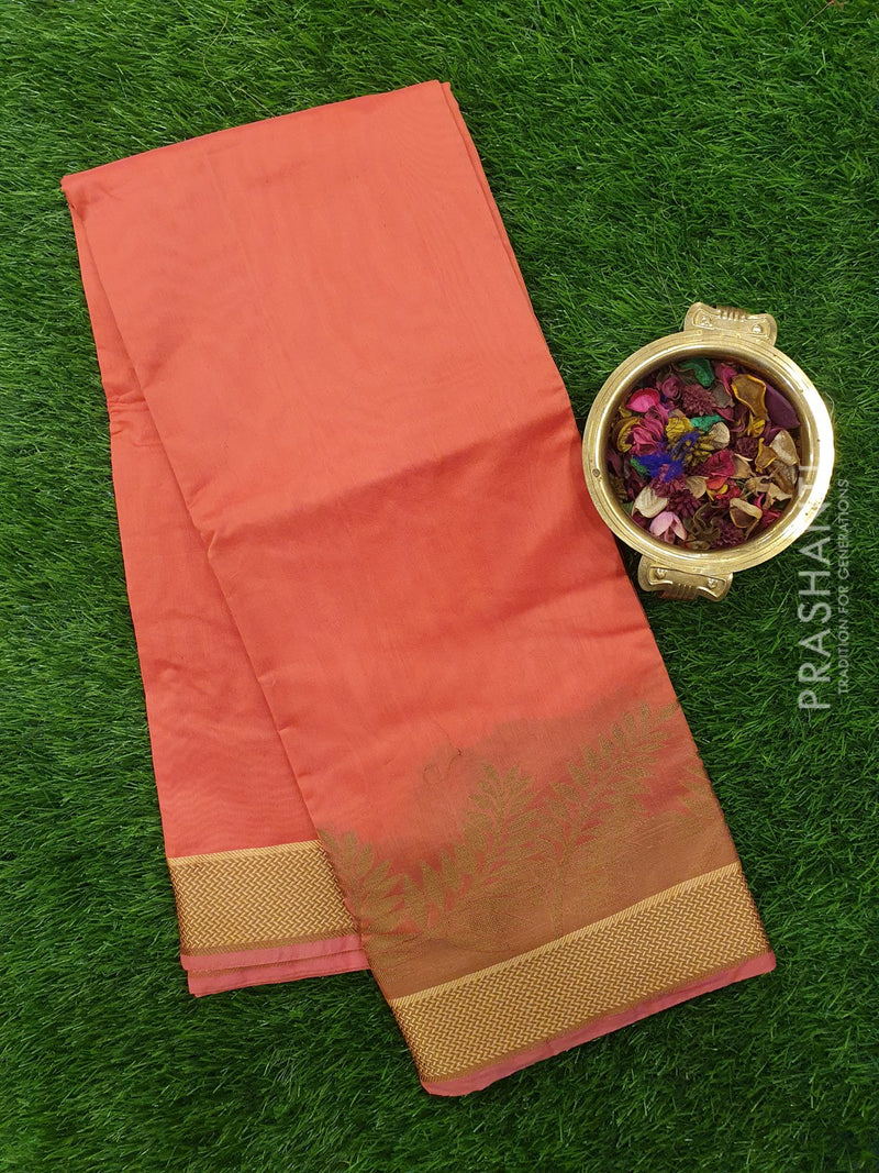 Chanderi Saree pink with zari and thread woven temple border