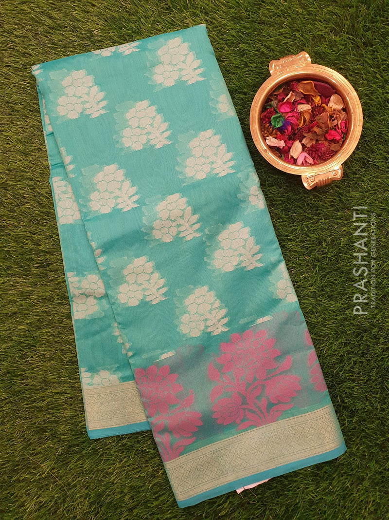 Chanderi Saree teal blue with thread woven buttas and zari border