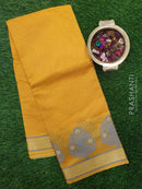 Chanderi Saree yellow with thread woven buttas and zari border