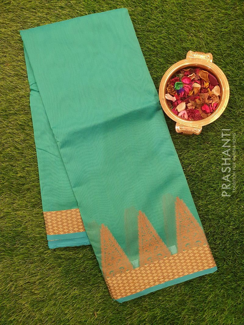Chanderi Saree teal blue with thread woven temple border
