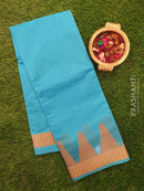 Chanderi Saree blue with thread woven temple border