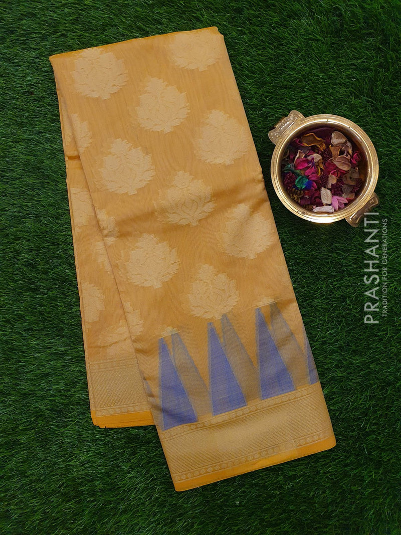 Chanderi Saree beige with temple design and zari border