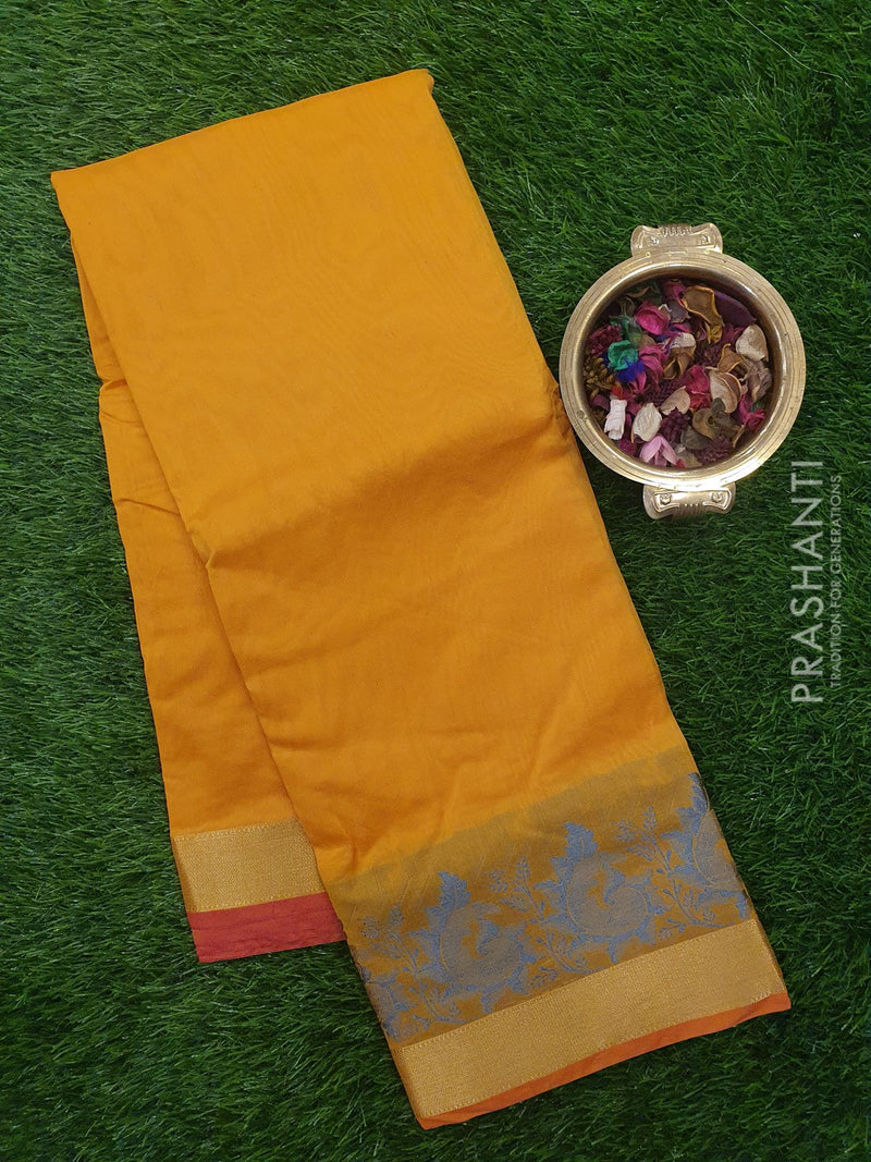 Chanderi Saree mango yellow with thread woven buttas and zari border