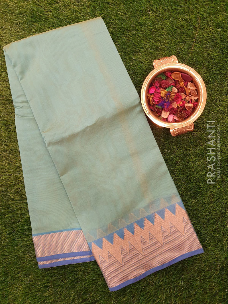 Chanderi Saree dual shade of blue and green with zari border