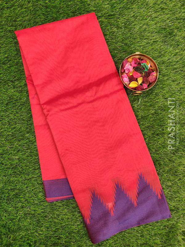 Chanderi saree Red and Violet with thread woven temple border