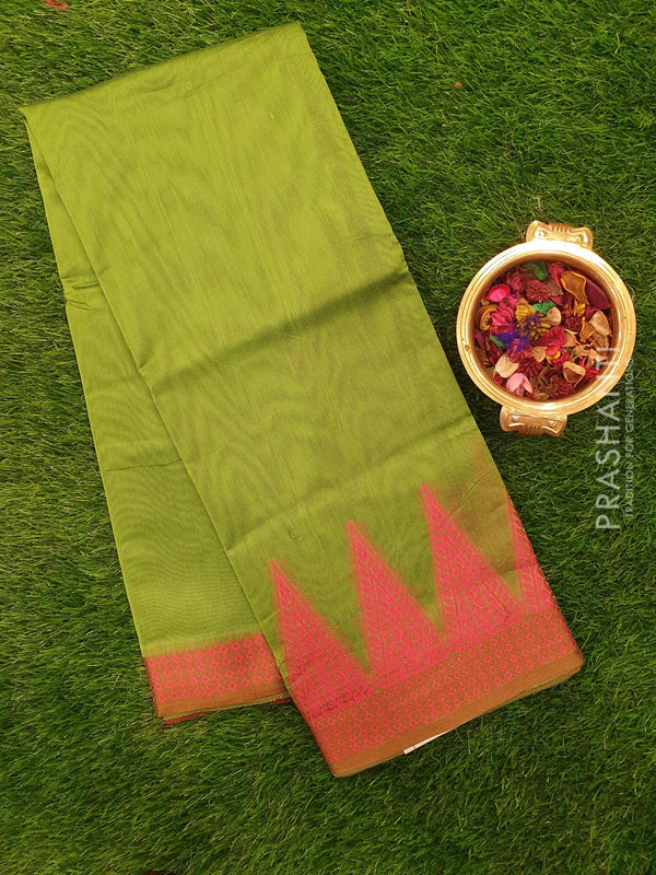 Chanderi saree Green and Pink with thread woven temple border