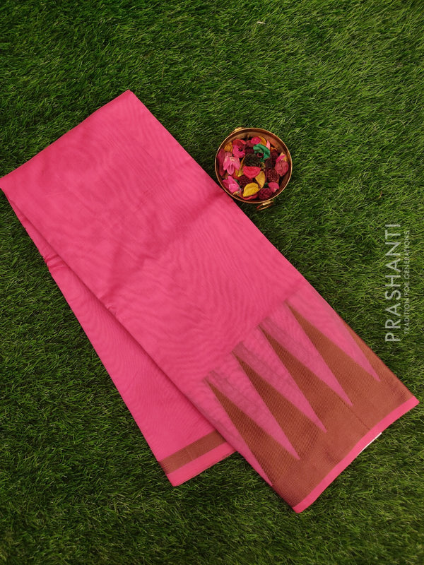 Chanderi saree Pink with thread woven temple border