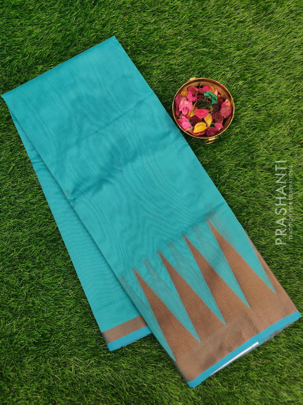 Chanderi saree Blue with thread woven temple border for Rs.Rs. 795.00 | by Prashanti Sarees