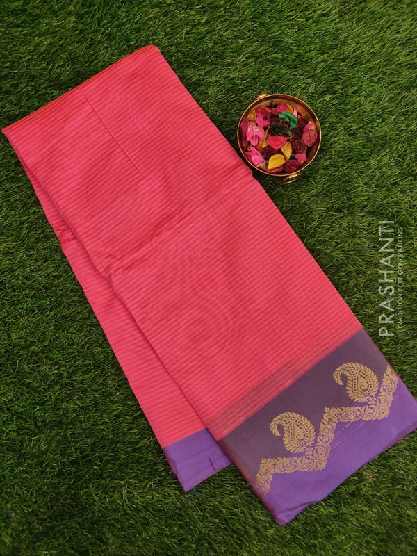 Chanderi saree Pink and Violet with stripes and zari border
