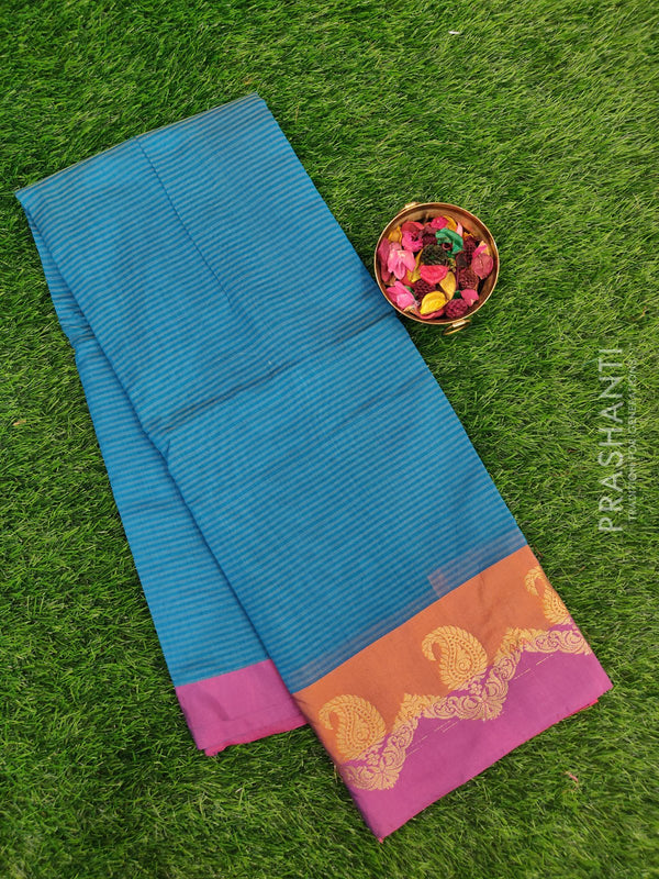 Chanderi saree Peacock blue and magenta with stripes and zari border