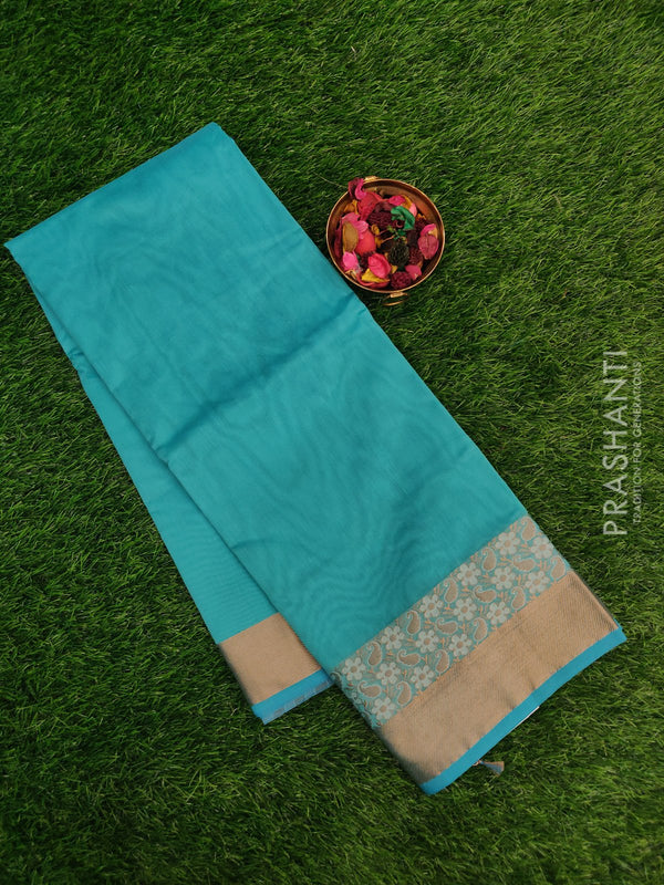 Chanderi saree Teal blue with floral thread borer