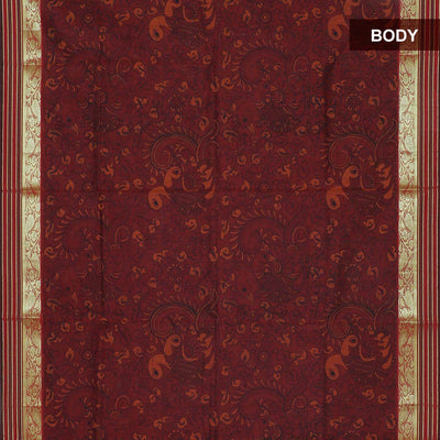 Mercerised Cotton Saree Maroon with print and floral zari border