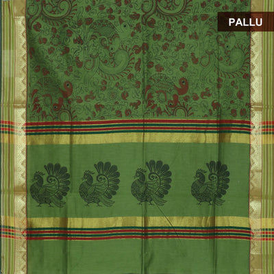 Mercerised Cotton Saree Pale Green with print and temple zari border