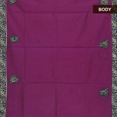 Kalamkari Saree Dark Pink and black with applique work