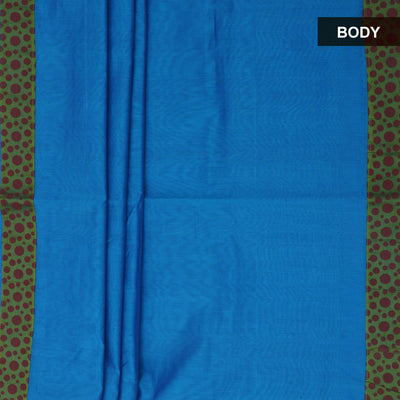 Mercerised Cotton Saree Blue and Pale green with printed border