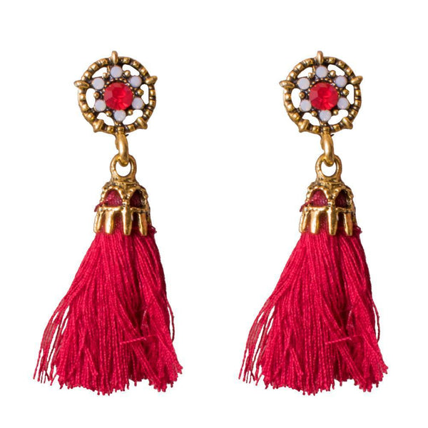 Bright Red Tassel Earrings