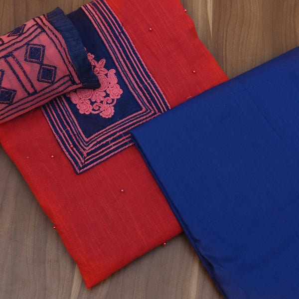 Dress Material - Maroon and dark blue with cotton top and embroidery dupatta