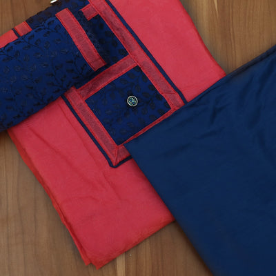 Dress Material - Red and dark blue with embroidery dupatta