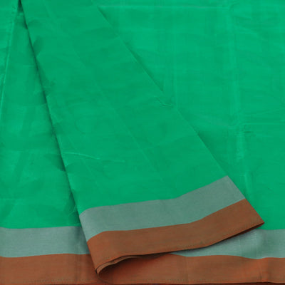 Raw Silk Saree Green with Self emboss and Simple Border