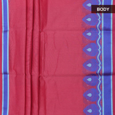 Mercerised Cotton Saree Pink with floral thread border and brocade blouse