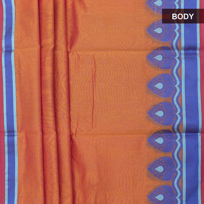 Mercerised Cotton Saree Orange with floral thread border and brocade blouse