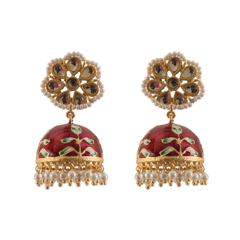 Bright Maroon And White Stone HandCrafted Jhumkas